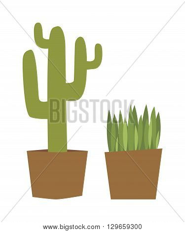 Flat style houseplants and cactus flowers pots decoration shelf vector icons. Set of green indoor vector house plants icons. House plants isolated nature flora decoration. House plants gardening.