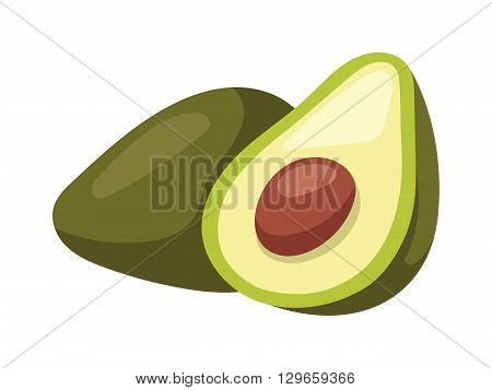 Avocado pieces slice isolated on white background design element organic food vector. Organic avocado slice and green avocado. Vegetable avocado healthy food. Fresh vegetarian half tropical avocado.