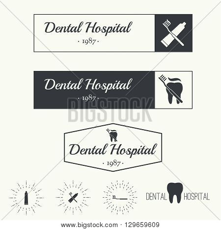 Set of Vintage hipster banners, insignias, radial sunbusrt with tooth. Dental clinic, hospital, private practice. Minimal design. Outline.
