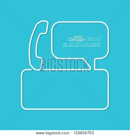Speech Bubbles with handset and Chat symbol. Outline. Call technical support. Contacts.