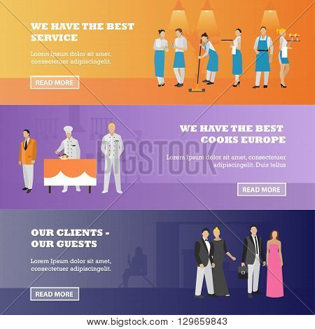 Vector set of restaurant workers and visitors banners. Illustration in flat style design. Waitress, chef, clients.