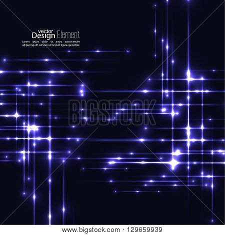 Abstract background with glowing rays intersecting. Futuristic techno design. Horizontal, vertical line. For parties, annual reports, software, anniversary, scientific research. Vector