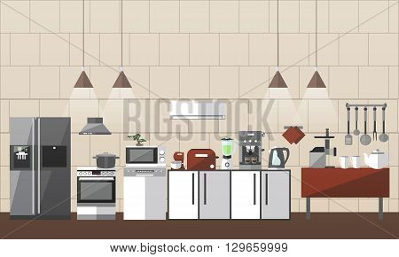 Modern kitchen interior set. Vector illustration in flat style design. Design elements and icons, utensils,  microwave, pot. Room furniture.
