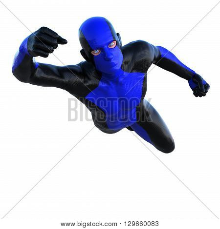 One superhero in dark and blue latex. Flies at the camera. 3D rendering, 3D illustration