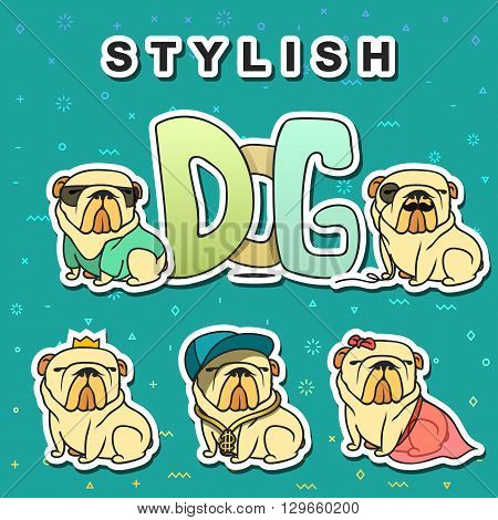 Dogs characters. Doodle dog. Sticker dog english bulldog. Funny character. Funny dogs. Funny animals. Dog isolated. Dog with glasses. Dog in the cap. Dogs set