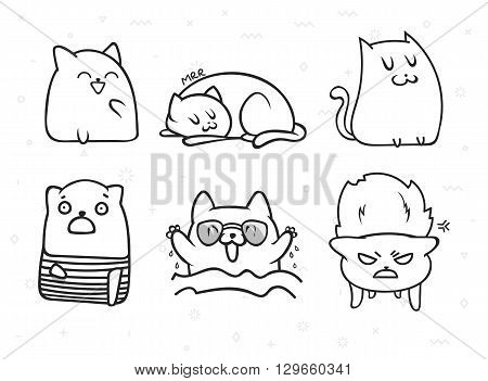 poster of Set of 6 sticker doodle cats with different emotions. Cat handmade. Isolated cat for design. Sleeping cat. Surprised cat. Love cat. Doodle cats. Print cat. Doodle animals. Funny character