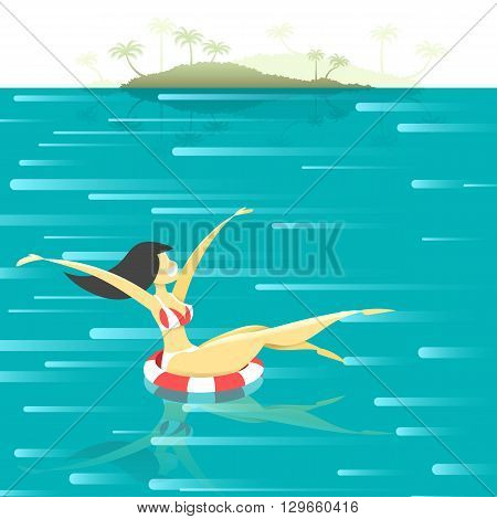 The girl on the high seas . Girl on vacation. Summer vacation concept. Retro poster with a girl floating in the sea. Flat girl at sea. Summer Resort.