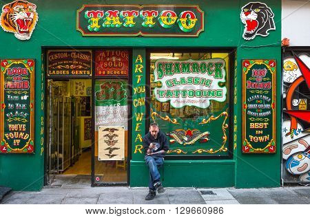 Dublin Ireland - July 31 2013: A tatoo shop in the Temple Bar quarter