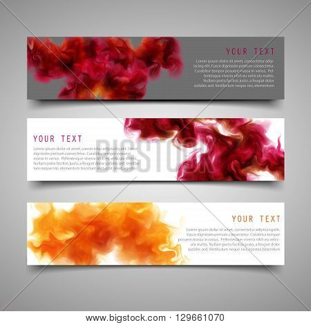 A set of modern vector banners. With the purple-wine smoke which dissolving in the air background. Vector illustration.