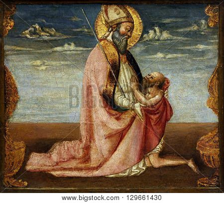 ZAGREB, CROATIA - DECEMBER 08: Neri di Bicci: St. Martin and the beggar, Old Masters Collection, Croatian Academy of Sciences, December 08, 2014 in Zagreb, Croatia