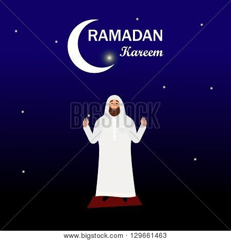 Islamic man with beard in a white robe praying at night in cartoon style flat isolated on white background