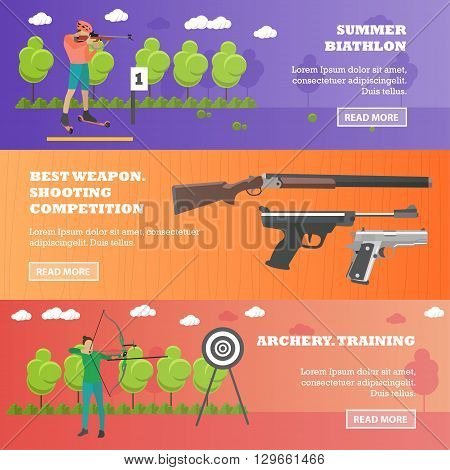 Vector set of sport shooting weapons banners.
