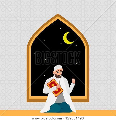 Islamic man in a white robe with karan pray at night in cartoon style flat isolated on white background
