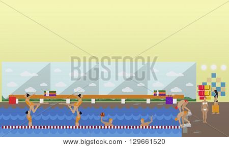 Horizontal vector banner with swimming pool interior. Water sport concept. People training and exercising. Flat cartoon illustration.