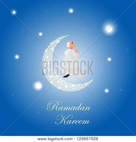 Islamic man in a white robe praying at night in cartoon style flat isolated on white background