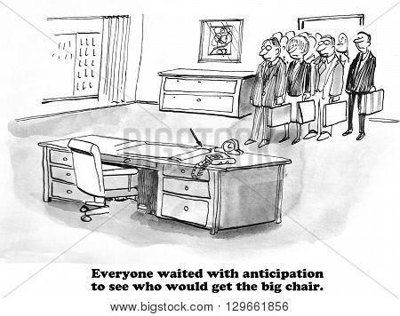 Business cartoon about anticipating who the new boss will be.