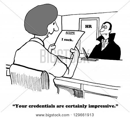 Business cartoon about a very brief resume.