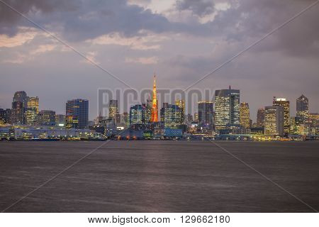 Tokyo city view and Tokyo Tower in twilight time