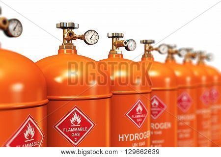 3D render illustration of the group of orange metal steel liquefied compressed natural hydrogen gas containers or cylinders with high pressure gauge meters and valves arranged in row and isolated on white background with selective focus effect