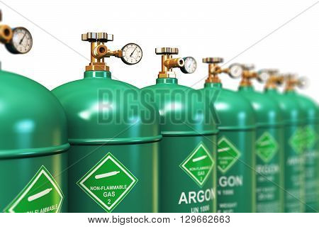 3D render illustration of the group of green metal steel liquefied compressed natural argon gas containers or cylinders with high pressure gauge meters and valves for aluminum welding arranged in row and isolated on white background