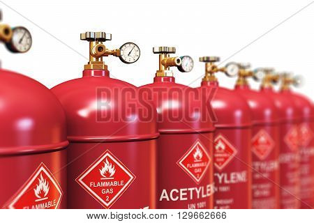 3D render illustration of the group of red metal steel liquefied compressed natural acetylene gas containers or cylinders with high pressure gauge meters and valves for industrial welding of pipes and tubes arranged in row and isolated on white background