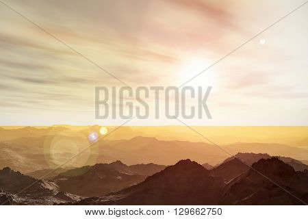3D render illustration of abstract surrealistic Martian space landscape of mountainous Mars planet surface