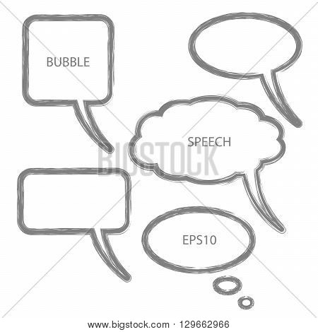 Vector illustration of abstract speech bubbles. Set of bubbles in grey color.