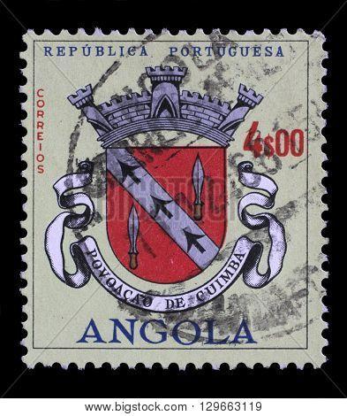 ZAGREB, CROATIA - JUNE 24: a stamp printed in the Angola shows Angolan Coat of Arms, Povoacao de Cuimba, circa 1963, on June 24, 2014, Zagreb, Croatia