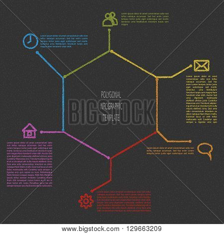 Infographic scheme in polygonal shape. Dotted fill. Vector infographic template illustration