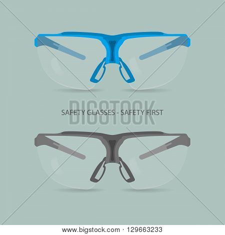 Vector illustration of safety glasses. Two pieces one in blue tones one in grey tones.