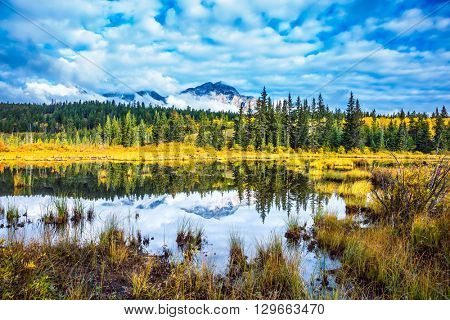 Warm autumn in the Rocky Mountains of Canada. Patricia Lake amongst the evergreen forests, yellow bushes and distant mountains