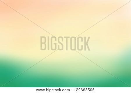 Green and beige blurred background. Colorful defocused scenic background. Soft colored gradient backdrop. Abstract blurry vector illustration