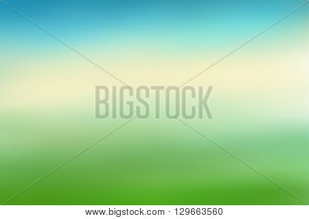 Blue and green blurred background. Colorful defocused scenic background. Soft colored gradient backdrop. Abstract blurry vector illustration