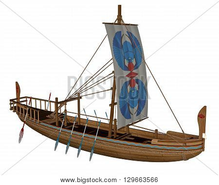 Ancient egyptian canal boat isolated in white background - 3D render
