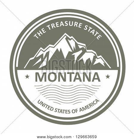Montana Mountains - Snowbound mountain round label