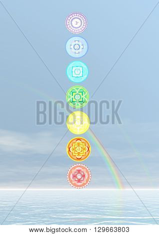 Seven chakra symbols column and rainbow in blue background - 3D render