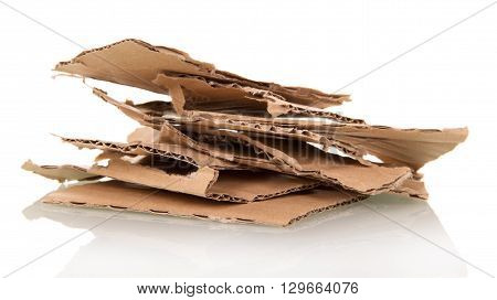Old Cardboard Scrap isolated on white background
