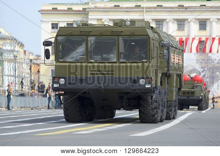 SAINT PETERSBURG, RUSSIA - MAY 05, 2015: Launcher MZKT-7930 missile complex