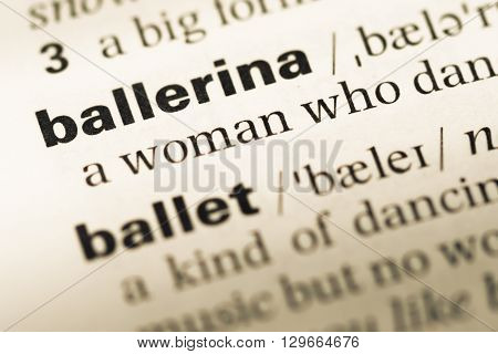 Close Up Of Old English Dictionary Page With Word Ballerina.