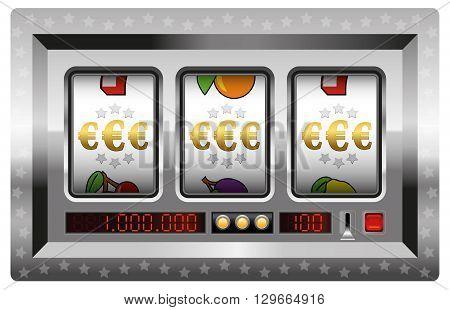 Euro symbols jackpot with silver slot machine. Isolated vector illustration on white background.