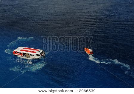 Cozumel, Mexico - December 16, 2010: The Crew Of Cruise Ship Norwegian Epic Conducts Safety Drill Fo