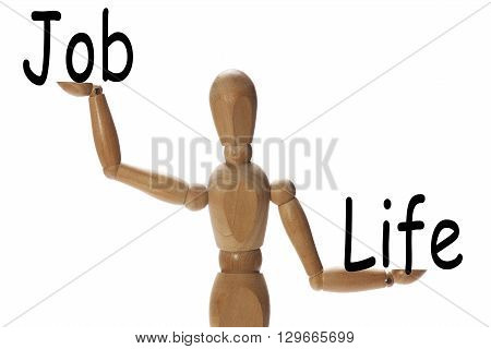 Mannequin measuring the importance of life versus the job on the palms of the hands