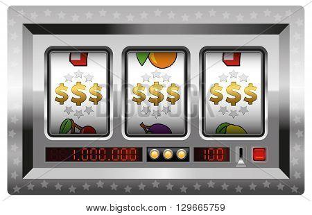 Dollar symbols win - silver slot machine. Isolated vector illustration on white background.