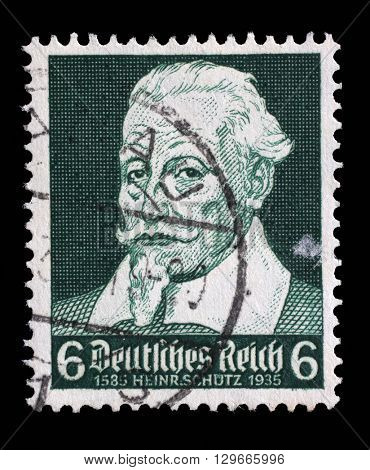 ZAGREB, CROATIA - JUNE 22: A stamp printed in the German Reich shows Heinrich Schutz (1585-1672), composer, circa 1935, on June 22, 2014, Zagreb, Croatia