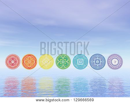 Seven chakra symbols line upon water in blue background - 3D render