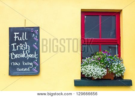 Calway Ireland - August 4 2013: The window of a bar in the Doolin village