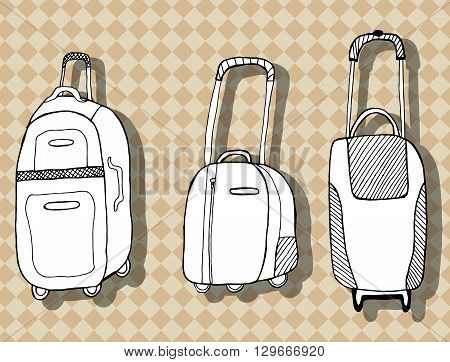 Travel bag. Baggage. Suitcase. Line art. Black and white drawing by hand. Graphic arts. Stylized. Decorative.