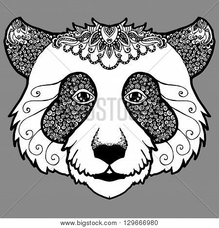 Portrait of a panda. Bear Head. Decorative. Stylized. Line art. Black and white drawing by hand. Tattoo. Graphic arts.
