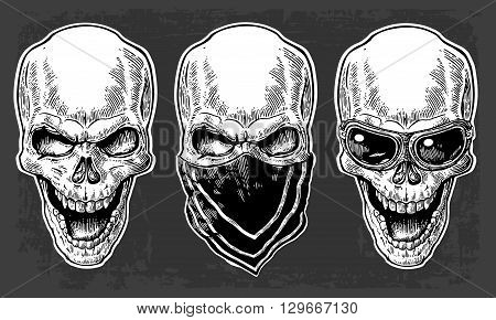 Skull smiling with bandana and glasses for motorcycle. Black vintage vector illustration. For poster and tattoo biker club. Hand drawn design element isolated on dark background