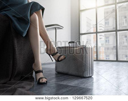 Long Woman Legs with metal case  concept backgrou